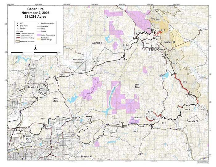 Cedar Fire October - Cedar fire map